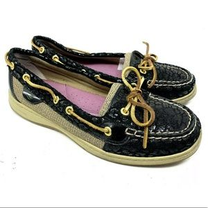Sperry Patent Black Animal Print Boat Shoes 1814